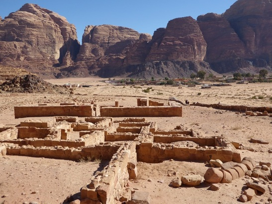 Nabataean temple and Wadi Rum village